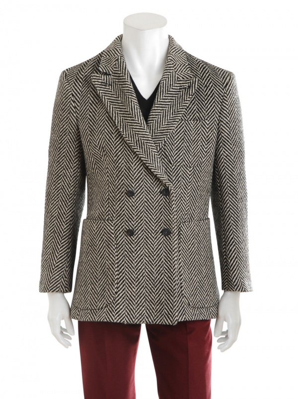 Double Breasted Herringbone Sport Coat by E Tautz | Suitored