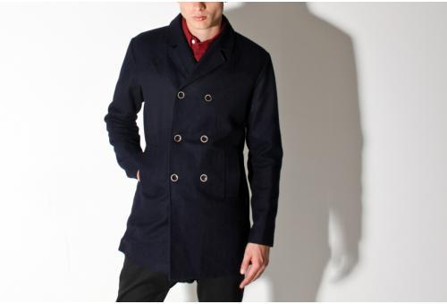 Hyden Yoo Navy Kaiser Pea Coat Hyden Yoo Navy Kaiser Pea Coat