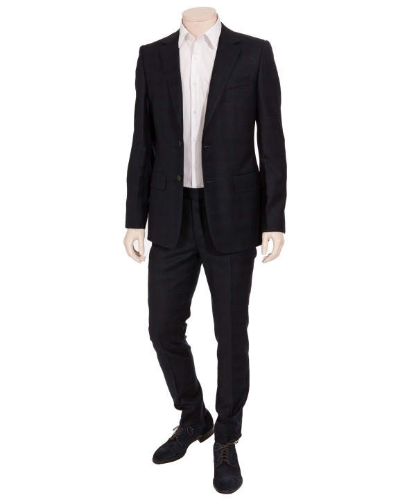 Yves Saint Laurent Navy Check Two Button Suit 1 Yves Saint Laurent Navy Check Two Button Suit