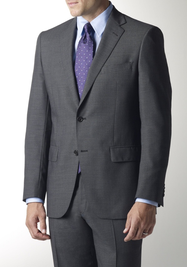 Grey Solid Smart Suit by Hart Schaffner Marx 1 Grey Solid Smart Suit by Hart Schaffner Marx
