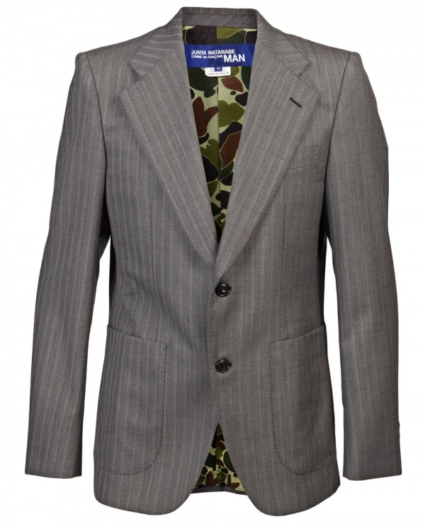 Junya Watanabe Striped Wool Camo Lined Blazer 1 Junya Watanabe Striped Wool Camo Lined Blazer