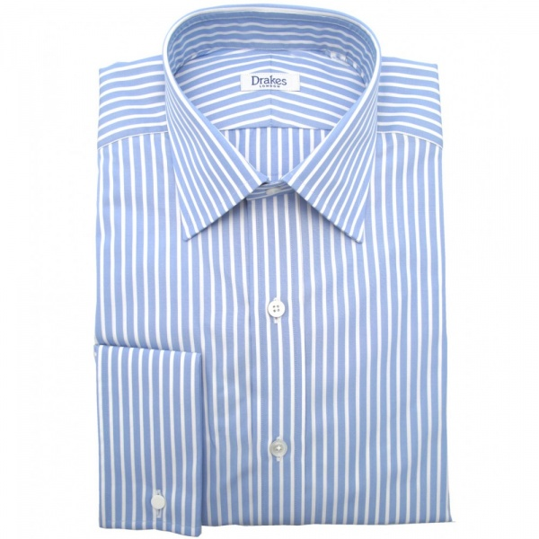 Sky blue white striped dress shirt by drakes london suitored for Blue and white striped shirt with white collar