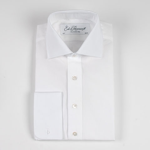 White Poplin Shirt with Cutaway Collar by Ede & Ravenscroft