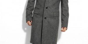 BOSS Black Greenwich Herringbone Wool Blend Overcoat