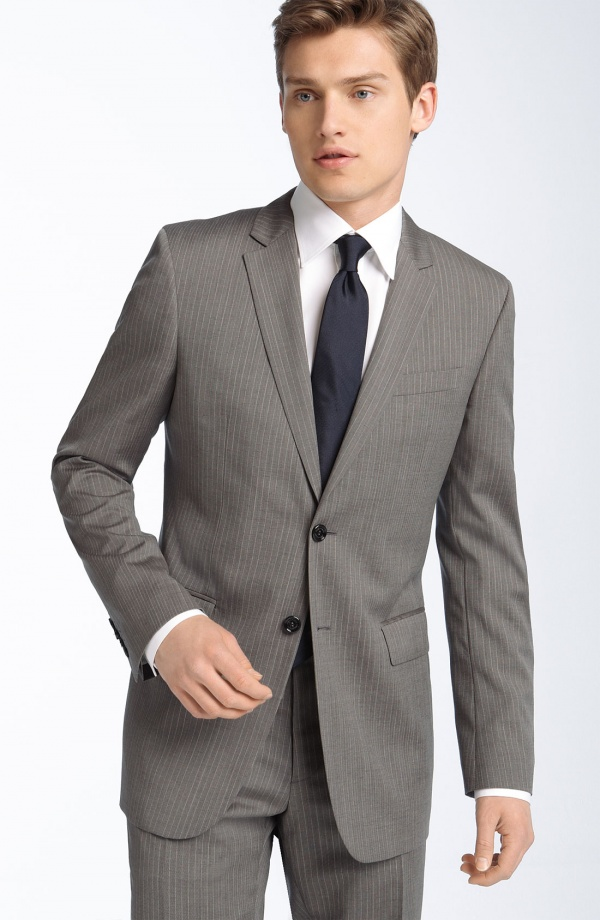 Burberry London Grey Stripe Virgin Wool Suit 1 Burberry London Grey Stripe Virgin Wool Suit