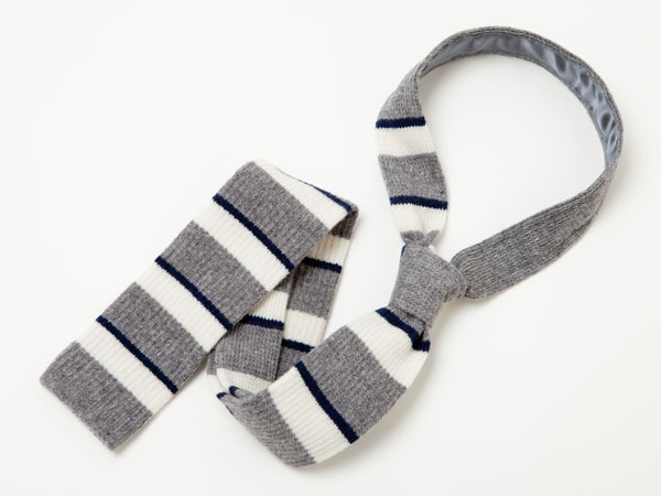 Grey White and Navy Knit Tie by Billy Reid Grey, White and Navy Knit Tie by Billy Reid