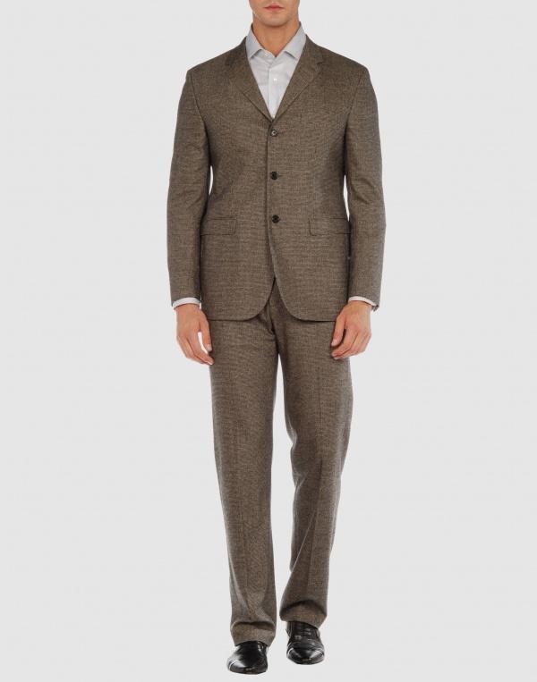 Neil Barrett Brown Flannel Three Button Suit 01 Neil Barrett Brown Flannel Three Button Suit
