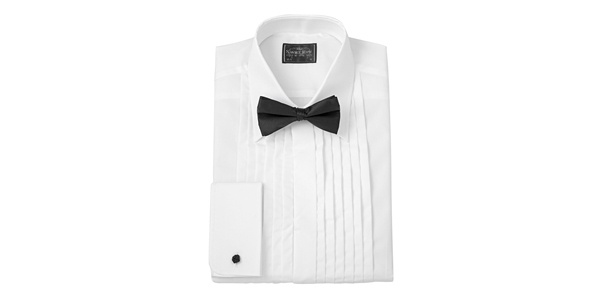 White Pleated Front Evening Shirt by Savile Row Company White Pleated Front Evening Shirt by Savile Row Company