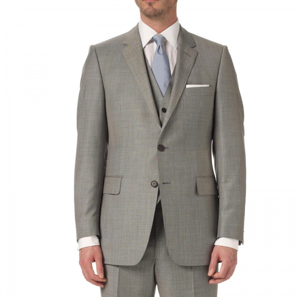 Gieves Hawkes Slate Sharkskin Single Breasted Suit Gieves & Hawkes Slate Sharkskin Single Breasted Suit