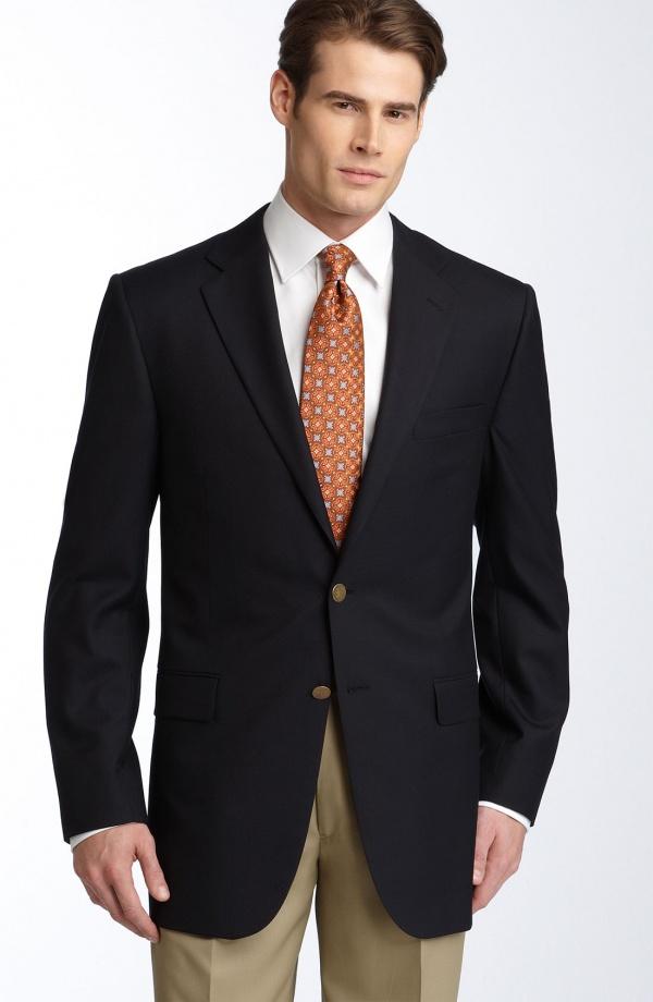 Hickey Freeman Navy Wool Blazer Hickey Freeman Navy Wool Blazer