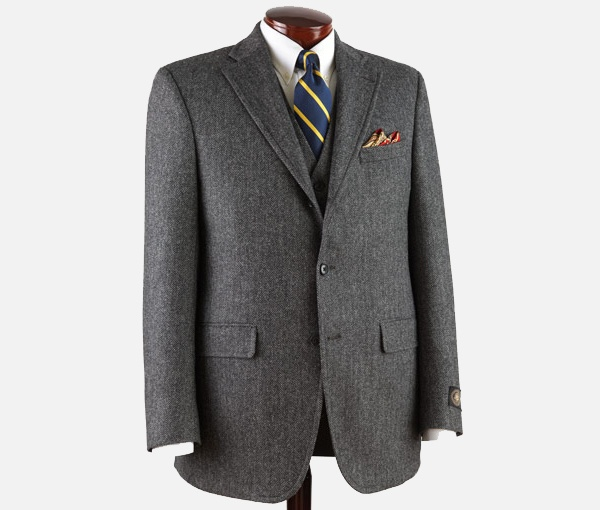 J. Press Three Piece Pressidential Grey Herringbone Sack Suit J. Press Three Piece Pressidential Grey Herringbone Sack Suit