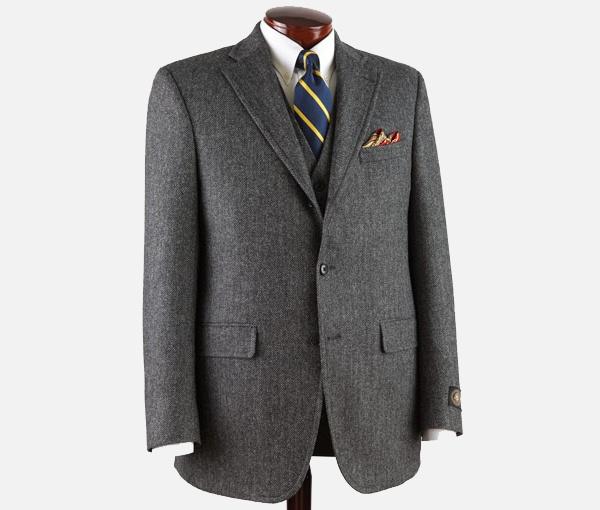 J. Press Three Piece Pressidential Grey Herringbone Sack Suit J. Press Three Piece Pressidential Grey Herringbone Sack Suit