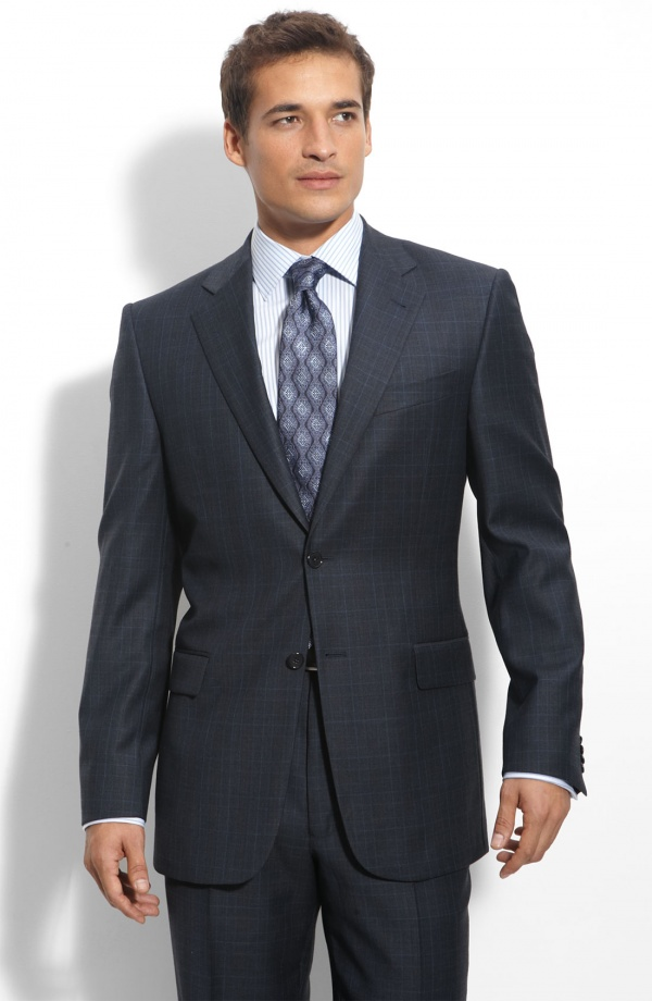 Joseph Abboud Signature Silver Navy Plaid Wool Suit Joseph Abboud Signature Silver Navy Plaid Wool Suit