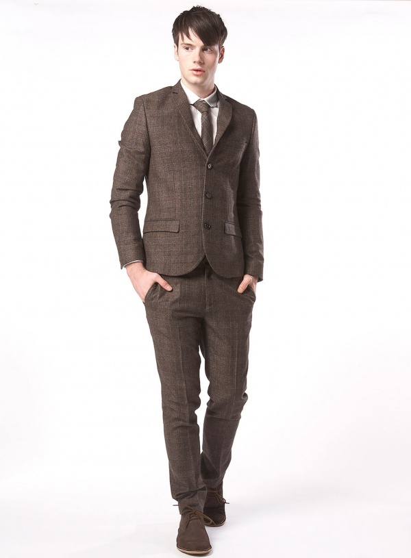 Slim Suit Jacket In Herringbone Details Suit Jacket By Asos Made From