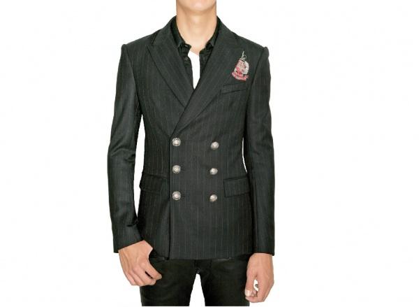 Balmain Pinstriped Twill Wool Badge Jacket Balmain Pinstriped Twill Wool Badge Jacket