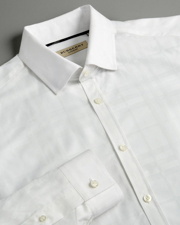 Burberry Check Shirt in White Burberry Check Shirt in White