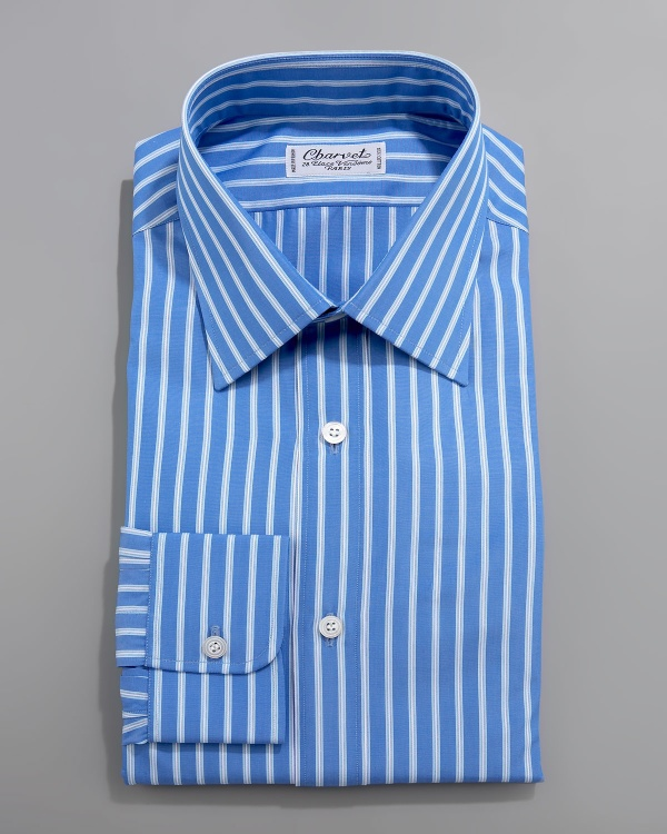 Charvet Wide Stripe Blue Dress Shirt Charvet Wide Stripe Blue Dress Shirt