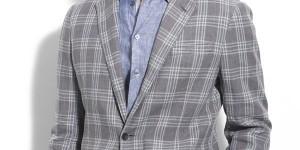 Armani Collezioni Plaid Linen Blend Sportcoat