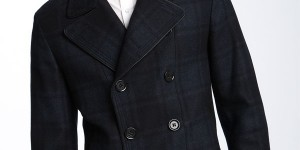 BOSS Black Plaid Wool Blend Peacoat
