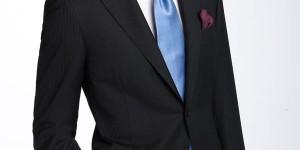 Canali Black Stripe Wool Suit