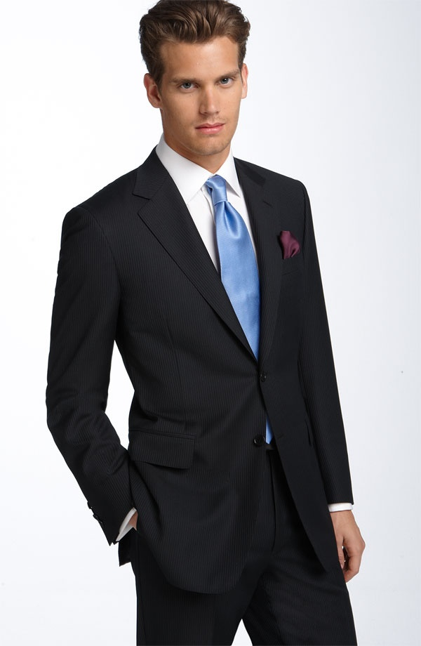 Canali Black Stripe Wool Suit Canali Black Striped Wool Suit