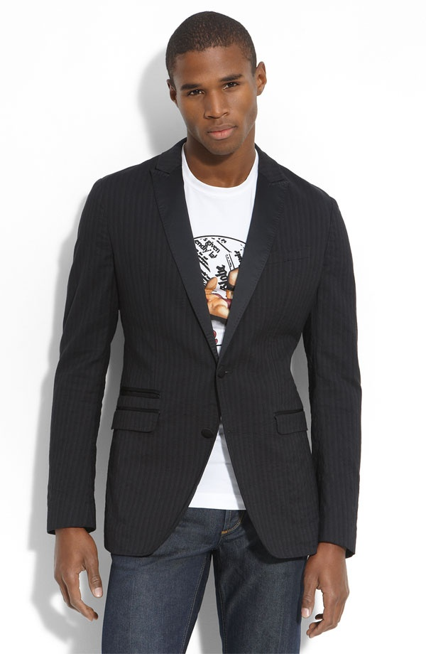 Dolce Gabanna Charcoal Stripe Cotton Blend Blazer Dolce & Gabanna Charcoal Stripe Cotton Blend Blazer