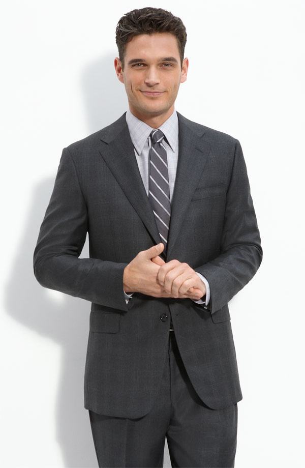 Hickey Freeman Charcoal Plaid Wool Suit | Suitored