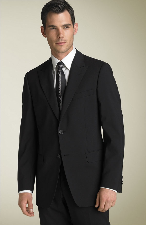 Versace Collection Black Stretch Wool Suit Versace Collection Black Stretch Wool Suit