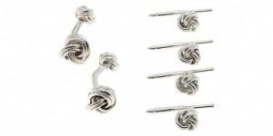 Barneys New York Sterling Knot Cufflink & Stud Set