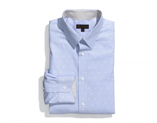 Ben Sherman Trim Fit White Dot Blue Dress Shirt Ben Sherman Trim Fit White Dot Blue Dress Shirt