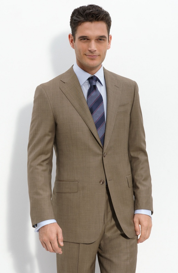 Hickey Freeman Brown Worsted Wool Suit Hickey Freeman Brown Worsted Wool Suit