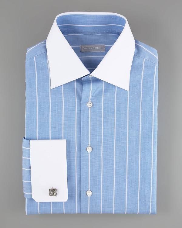 Stefano Ricci Contrast Collar Blue Dress Shirt Stefano Ricci Contrast Collar Blue Dress Shirt
