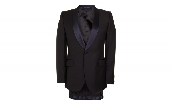 A gorgeous two piece midnight blue tuxedo in a woolsilk blend