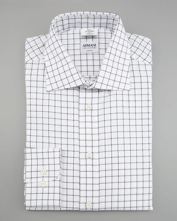 Armani Collezioni Modern Fit Macro Check Shirt Armani Collezioni Modern Fit Macro Check Shirt