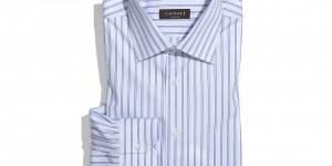 Canali Regular Fit Blue Stripe Dress Shirt