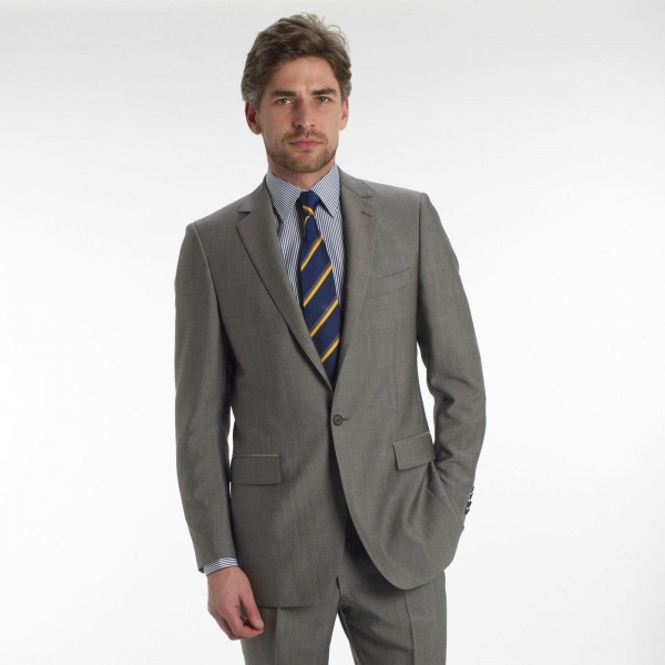 Gieves Hawkes Solid Grey Single Button Suit 1 Gieves & Hawkes Solid Grey Single Button Suit