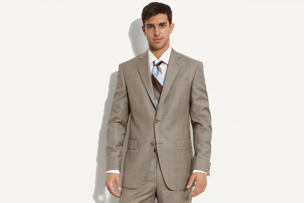 Hart Schaffner Marx Tan Plaid Worsted Wool Suit Hart Schaffner Marx Tan Plaid Worsted Wool Suit