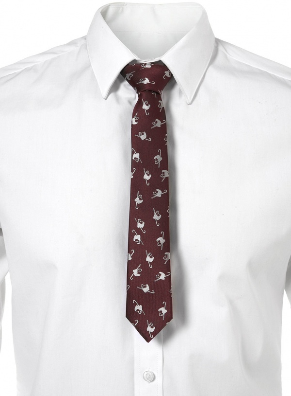 Burgundy Top Hat Cane Tie Burgundy Top Hat & Cane Tie