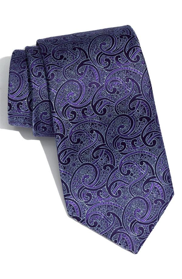 David Donahue Woven Silk Tie David Donahue Indigo Paisley Woven Silk Tie