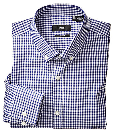 Hugo Boss Black Blue Gingham Dress Shirt Hugo Boss Black   Blue Gingham Dress Shirt