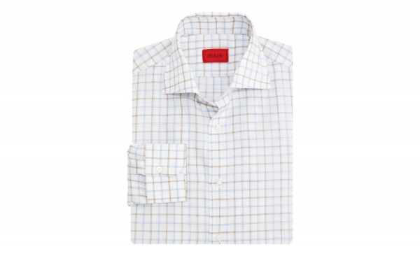Isaia Blue Grid Dress Shirt Isaia Blue Grid Dress Shirt