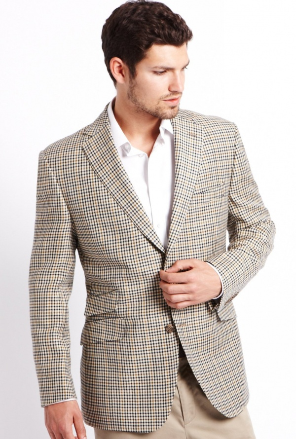 Luxury Worsted Wool Tartan Check Jacket Luxury Worsted Wool Tartan Check Jacket