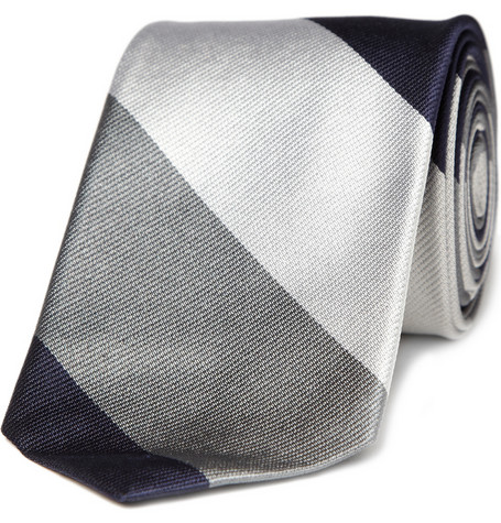 J Crew Silver Striped Tie1 J. Crew Silver Silk Striped Tie