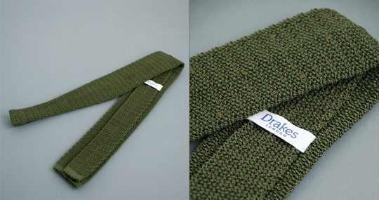 drakes knitted tie 02 Drakes Green Knitted Tie