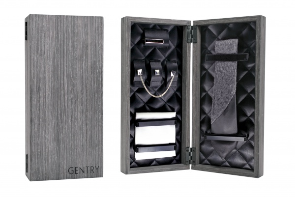 BoxSet Pollit BlackLeatherHerringbone Gentry 2011 Williams Collection   Black Harringbone & Leather Tie Set