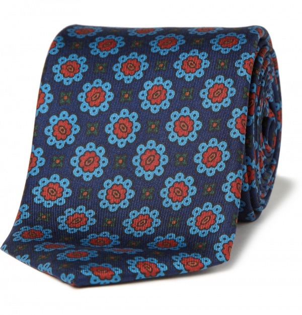 173638 mrp in xl Drakes Flower Print Silk Tie
