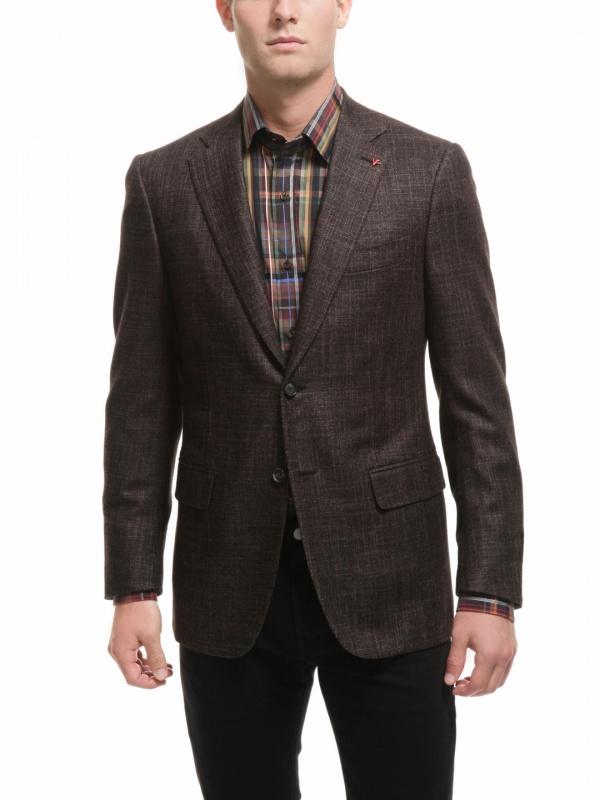 lg Isaia Textured Wool Blend Two Button Blazer