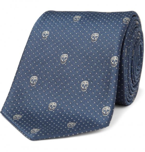 176094 mrp in xl Alexander McQueen Skull Emblem Silk Tie