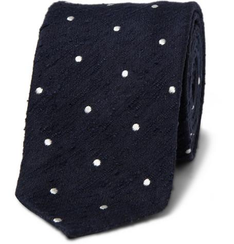 187978 mrp in l Drakes Shantung Silk Polka Dot Tie