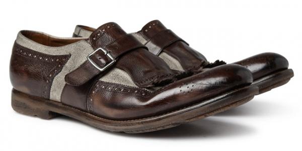 churhcmain Church's Shanghai Fringed Leather & Linen Loafers